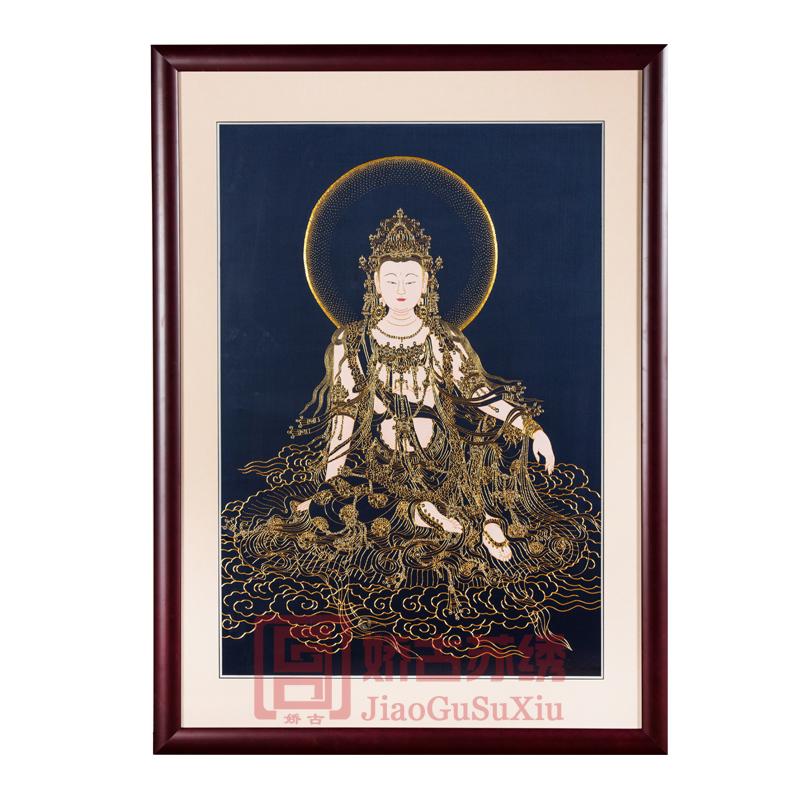 苏绣装饰画|手工盘金绣加手绘观世音菩萨挂画|佛教观音刺绣像