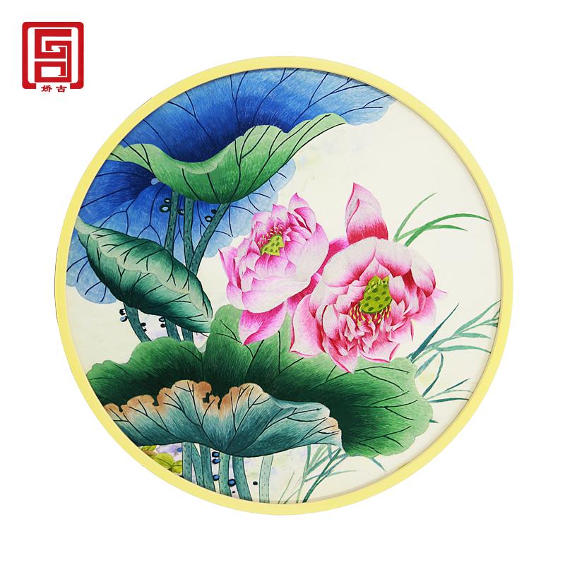 手工刺绣画|苏绣装饰画|圆形刺绣餐厅卧室客厅挂画|中式刺绣画