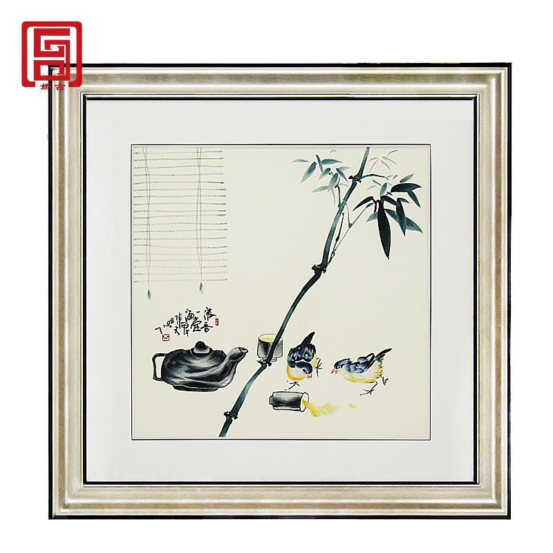 娇古苏绣|【清酒壶】简约古典刺绣画|特色苏绣挂画|办公室书房手工绣画
