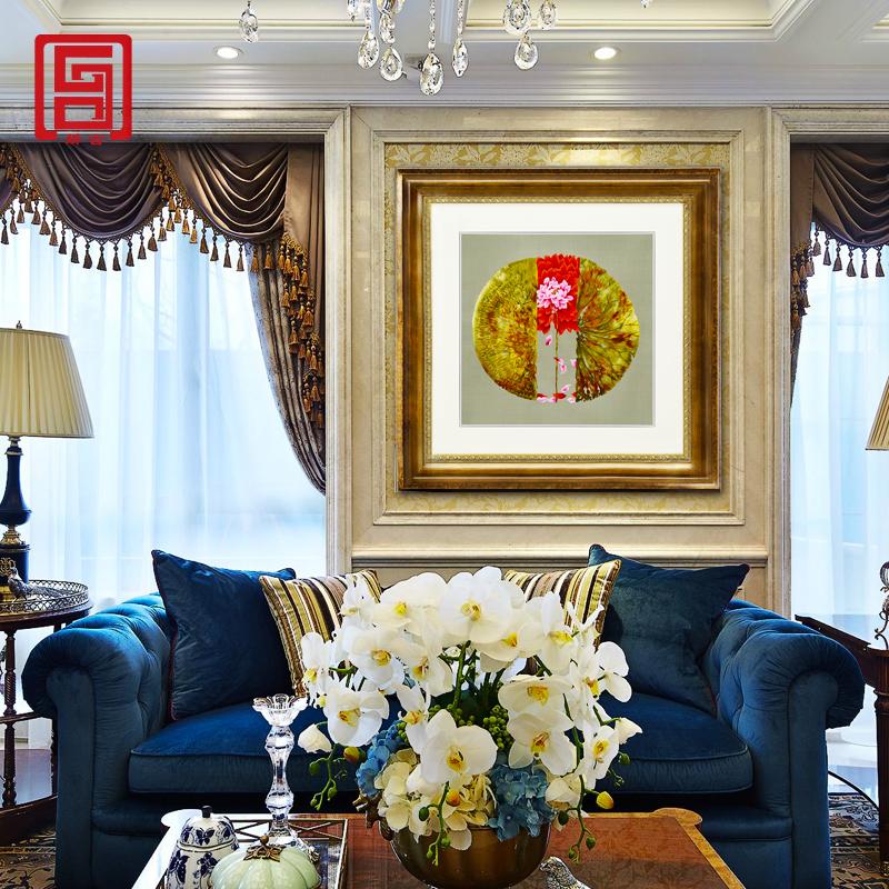 娇古「莲花禅意」手工刺绣装饰壁画茶室客厅书房中式苏绣装饰挂件