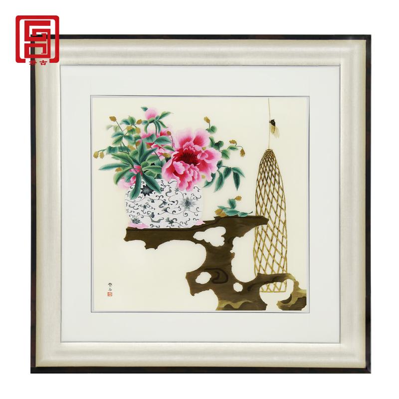 娇古「平安富贵」单面刺绣画苏州手工刺绣装饰画客厅茶室书房挂画