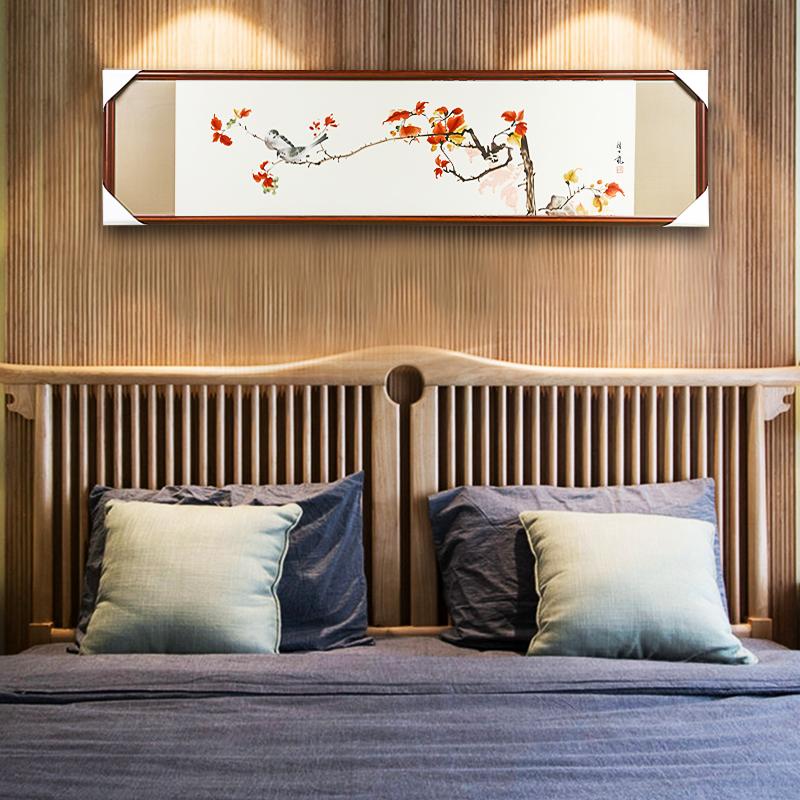 苏绣刺画新中式客厅沙发背景墙成品挂画颜伯龙花鸟手工刺绣
