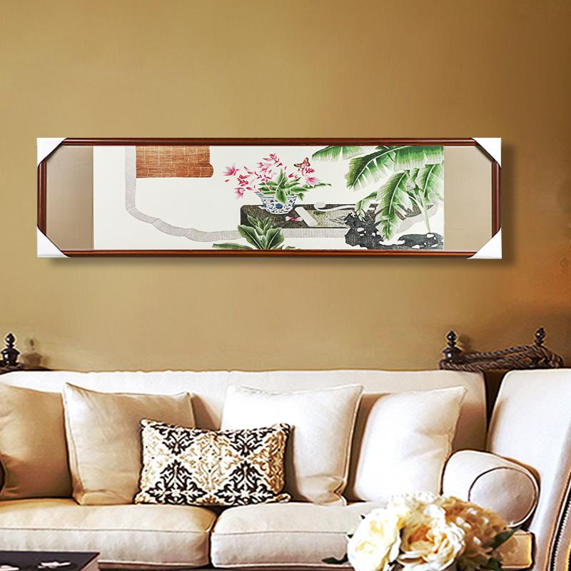新中式客厅沙发背景墙成品挂画纯手工刺绣装饰画真丝绣线娇古苏绣