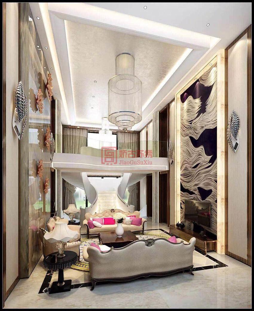 大型刺绣别墅背景墙画定制案例--星艺装饰集团公司订制