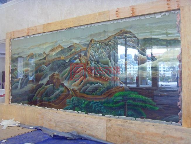 特大型长城刺绣背景墙画订制--贵州盘江精煤集团