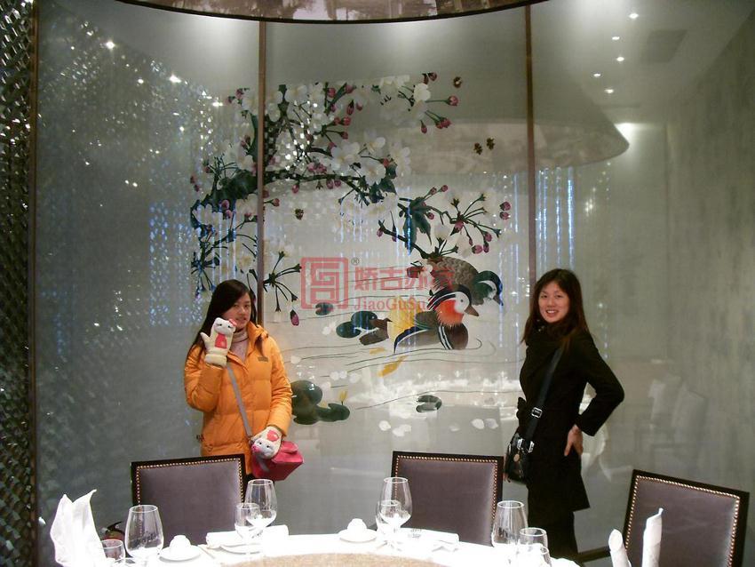 苏浙汇饭店包厢双面绣隔断--上海康业装饰公司订制