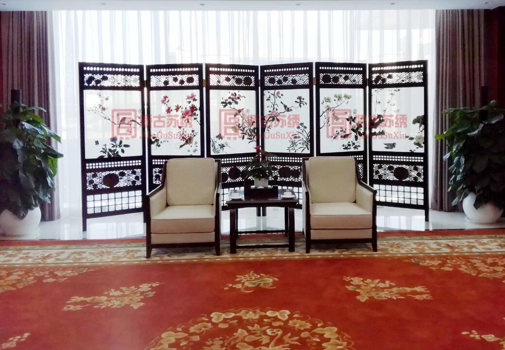 苏绣屏风定制案例--某大型企业VIP室定做花鸟多扇折叠屏风