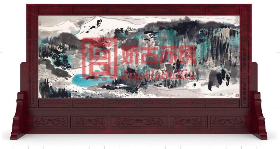 大型苏绣双面绣隔断定制案例--抽象水墨山水题材刺绣屏风